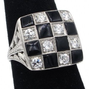 vintage platinum checkered ring
