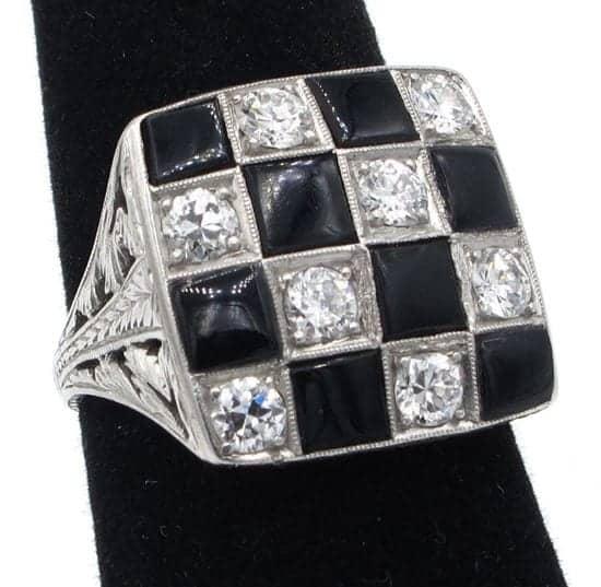 vintage platinum checkered ring