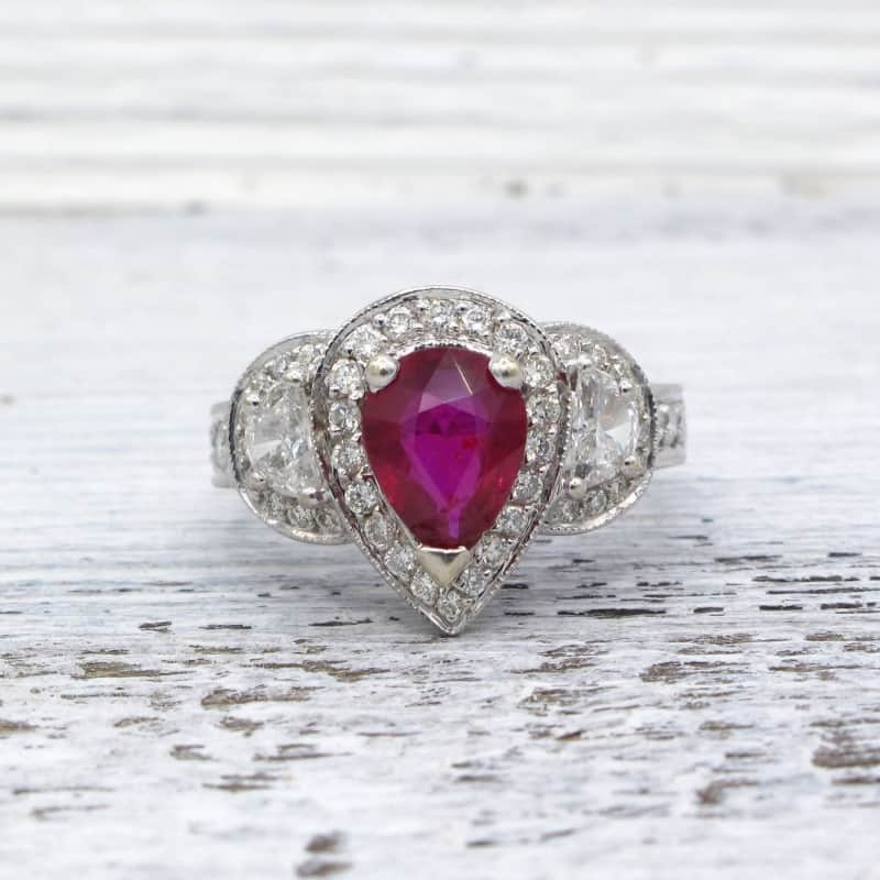 ruby, diamond, pear