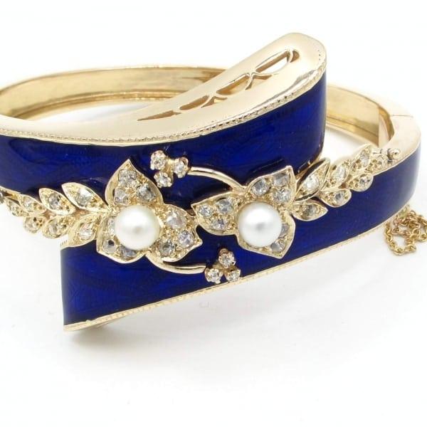 enamel, vintage, bracelet, gold