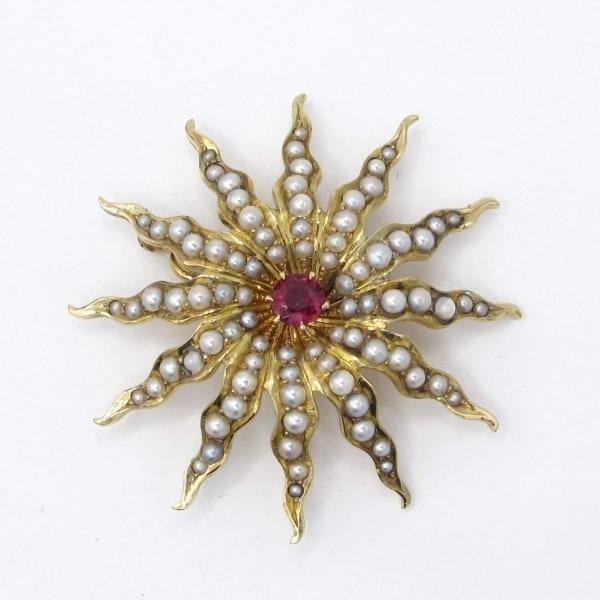 vintage, star, seed pearl, ruby