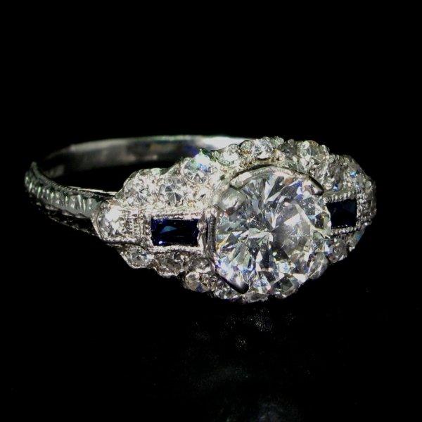 deco, sapphire, diamond, ring, vintage