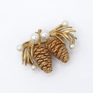 pinecone, gold, pin, brooch