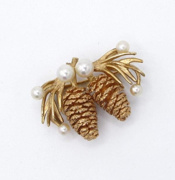 pinecone, gold, pin, brooch